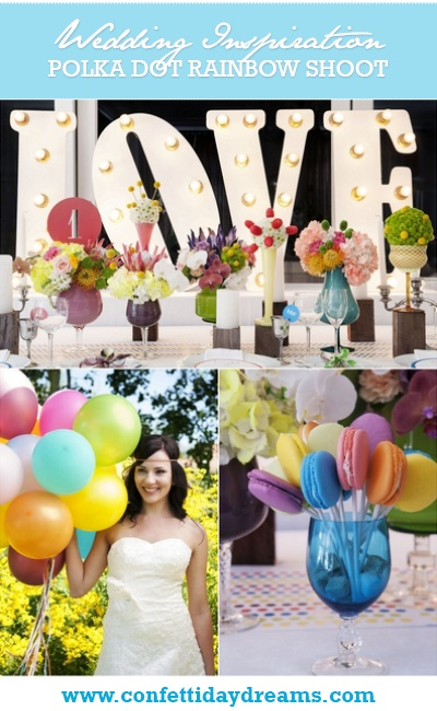 Polka Dot Rainbow Colour Wedding Theme {Inspiration Board}
