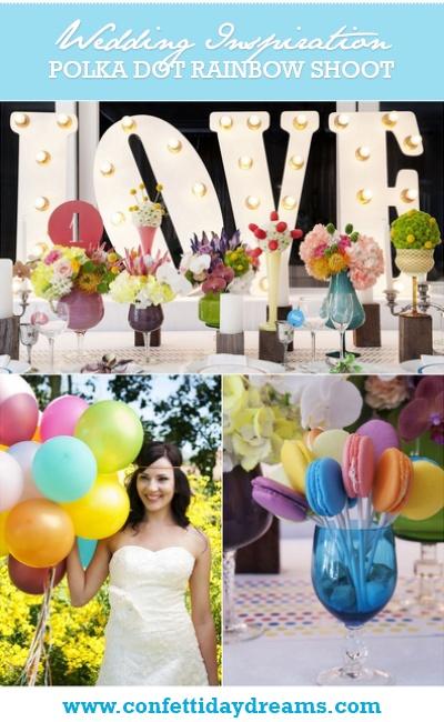 Polka Dot Rainbow Wedding Theme Inspiration Board