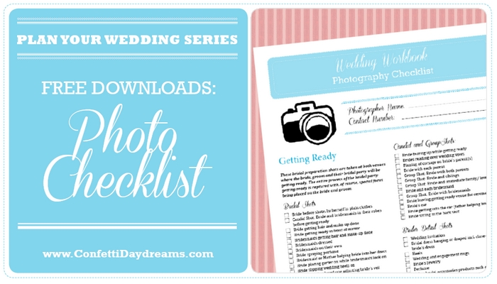 Wedding Photography Checklist Free Printable