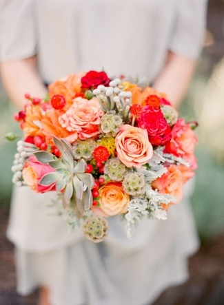Peach and Orange Succulent Bouquet Ideas