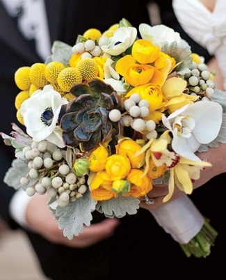 Yellow Succulent Bouquet Ideas