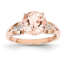 Morganite (2.7ct) & Diamond (0.05ct) Ring set in 14K Rose Gold | Kirsikka Jewelry