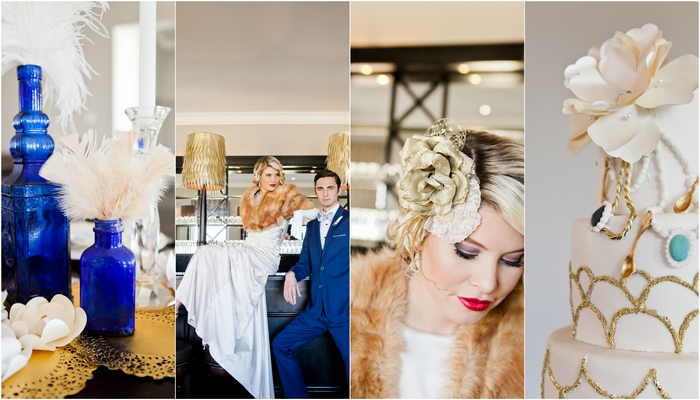 Oh Great Gatsby! Wedding Shoot in Blue & Gold