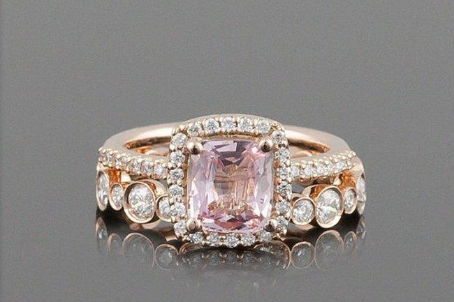 Rose pink wedding rings