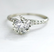 Vintage Diamond Ring (0.99ct, SI-1 Clarity, I-J Colour) set in 14K white gold | Baffy 21