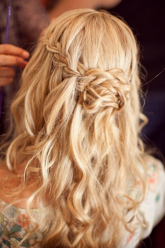 Waterfall Braided Wedding Hairstyles Above Left A Half Up Down