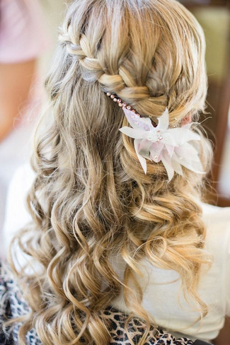 Left A Tousled Bridal Hairstyle With A Floral Headpiece Adding The