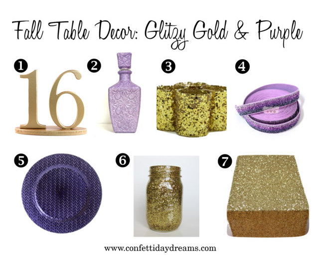 Fall Wedding Table Decor Glitzy Gold and Purple