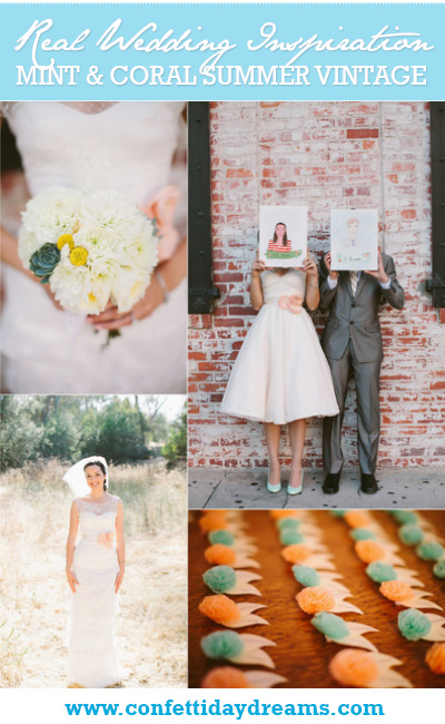 Mint and Coral Vintage Summer Wedding