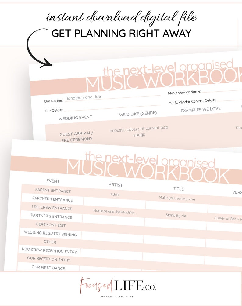 Wedding Music Checklist Printable