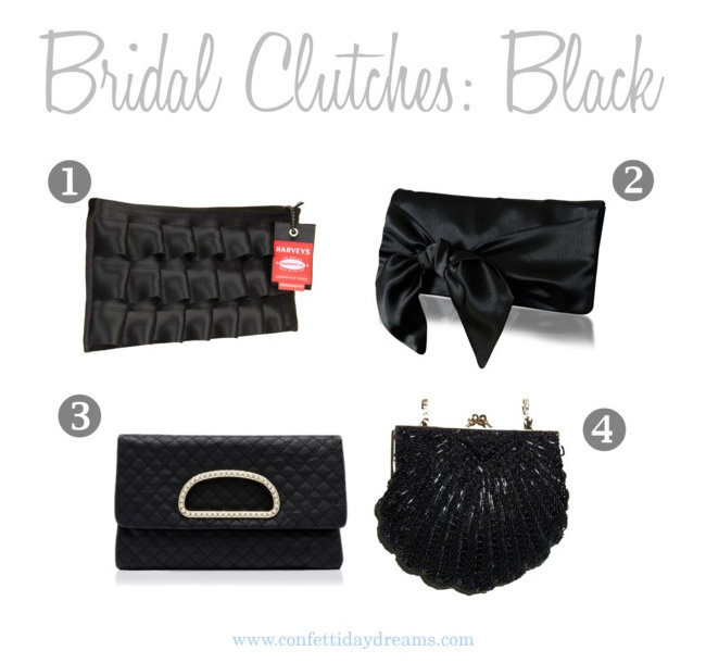 Black Bridal and Bridesmaid Clutches