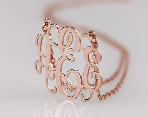 Bridesmaid Gift Idea Rose Gold Monogram