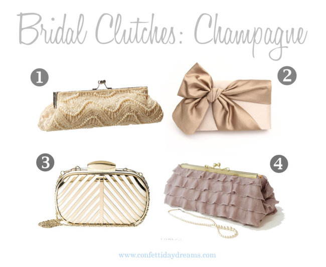 Champagne Bridal and Bridesmaid Clutches