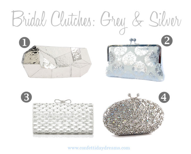 Grey and Silver Bridal and Bridesmaid Clutches