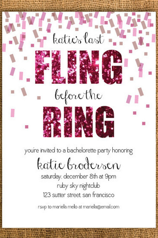 'Final Fling Before The Ring' Bachelorette Party Invite