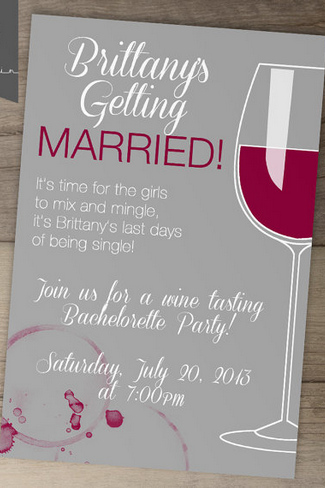 Wine Tasting Bachelorette Party Invite