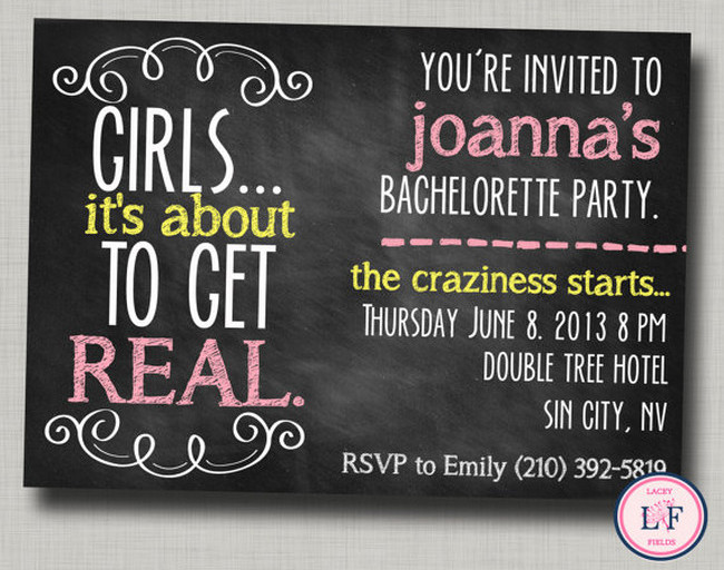 Chalkboard Bachelorette Party Invite