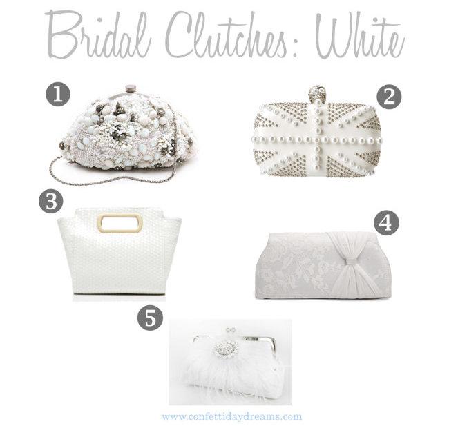 White Bridal Clutch Purses