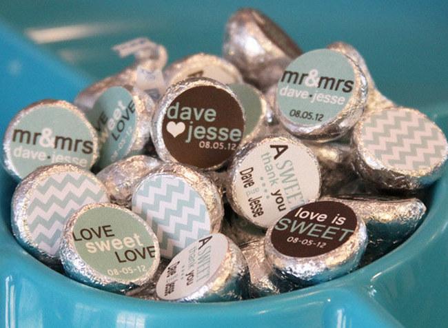 Chevron Hershey Kiss Candy Sticker Labels {Wedding Trends}