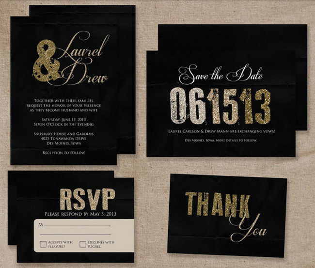 Glitter Wedding Invitation Set