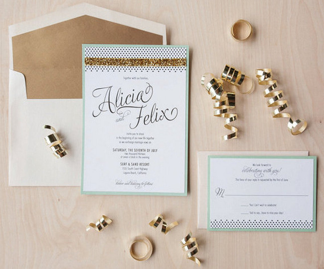Glitter Wedding Invitation and RSVP card