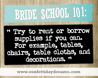 Real Bride Advice | Rent or borrow wedding decor and supplies - Sarah