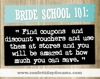 Real Bride Advice | Save by using discounts or coupons - Sarah