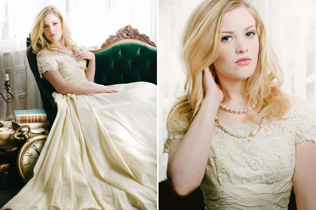 1950s Champagne Silk and Beaded Taffeta Vintage Wedding Dress designed by Mill Crest Vintage
