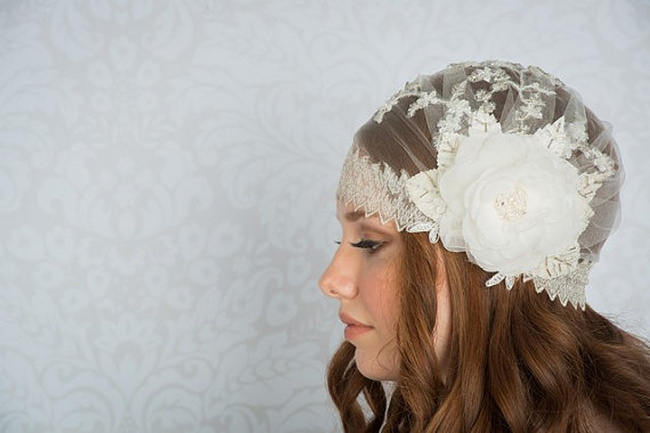 2014 Blair Nadeau Millinery Bridal Collection | Harlow Lace Juliet Cap