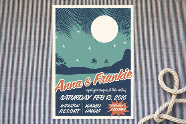 Retro Hawaii Beach Wedding Invitations