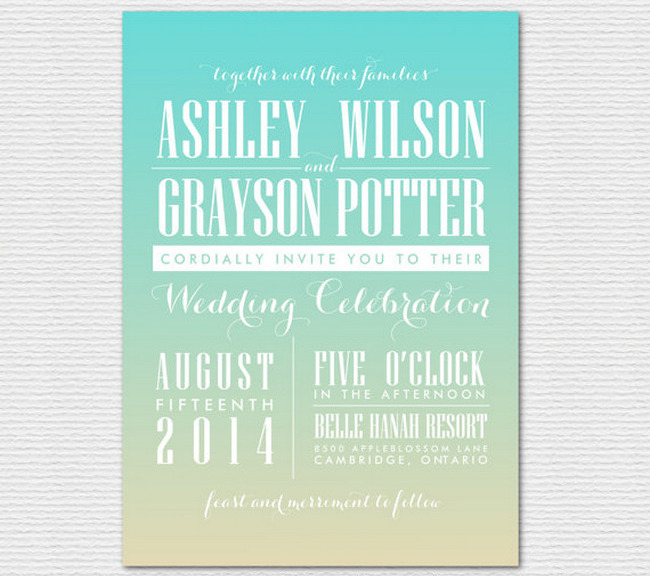 Ombre Beach Wedding Invitations