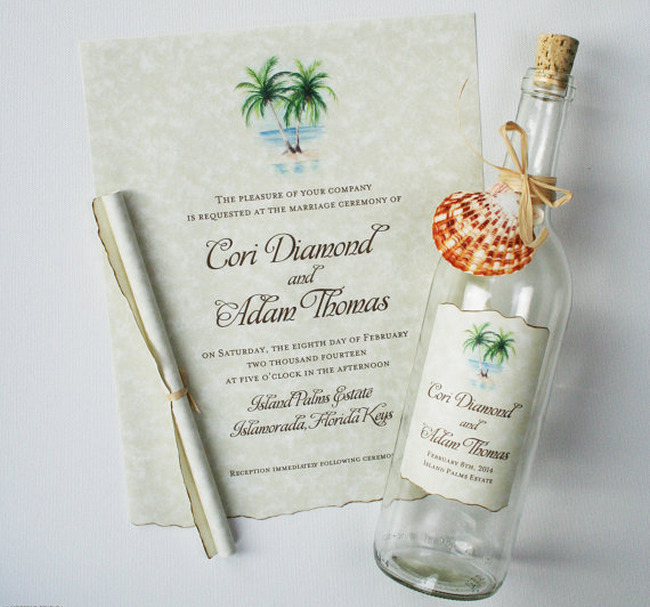 Message-in-a-Bottle Beach Wedding Invitations