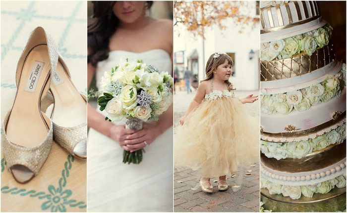 Glamorous Gold Green And White Wedding Inspiration