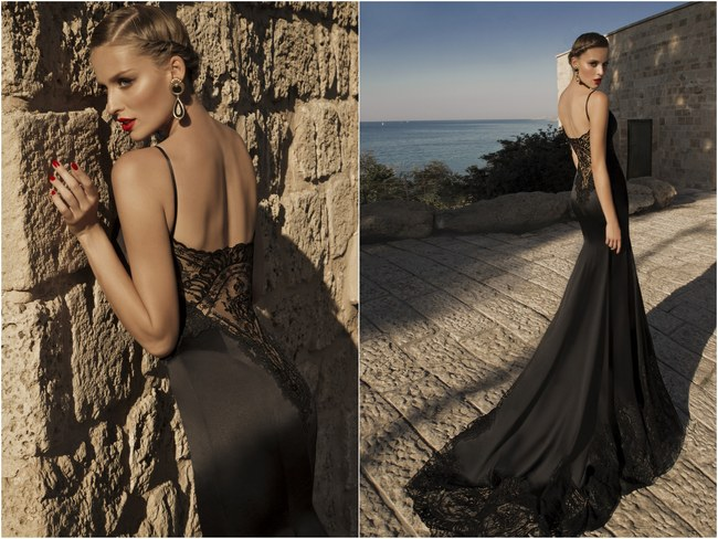 Marylin Moonstruck Backless Black Evening Dress