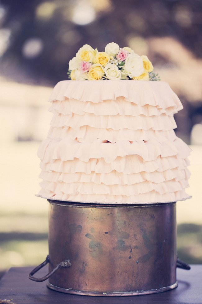 Peach Cream Rustic Country Ruffles & Lace Wedding 30