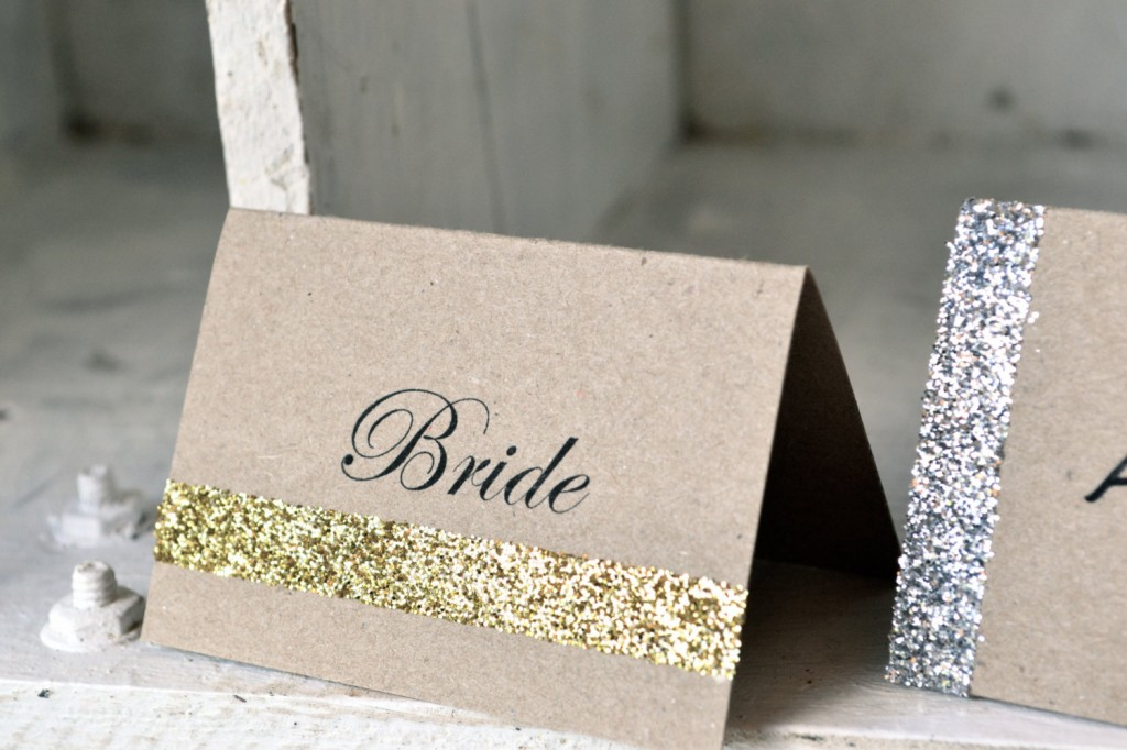 glitter wedding escort place card