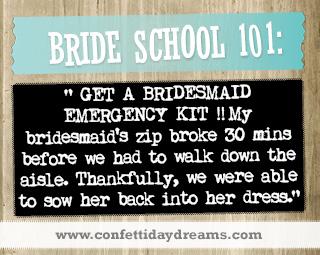 Real Bride Advice - Bridesmaid Emergency Kit  -  Melissa