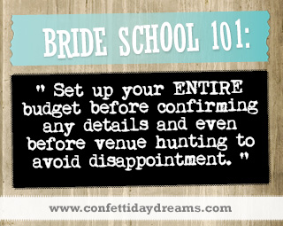 Real Bride Advice - Budget before venue hunting -  Marli
