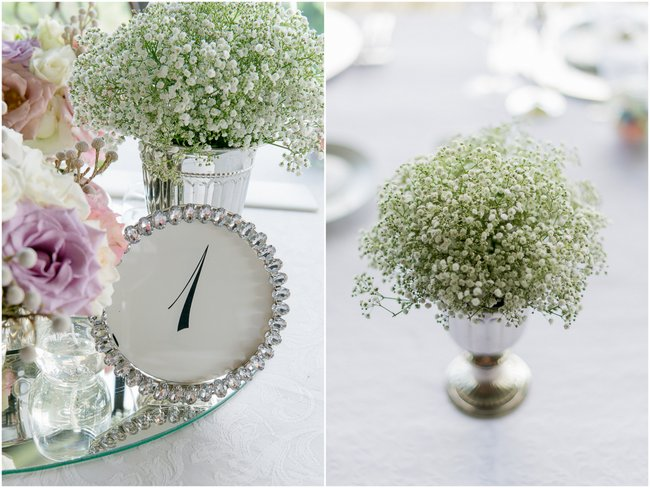 Baby's Breath, Dusty Pink & Violet Flowers and Decor  Images by Lightburst Photography - As seen on ConfettiDaydreams
