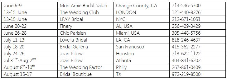 Berta Wedding Dresses - 2014 USA Trunk Shows