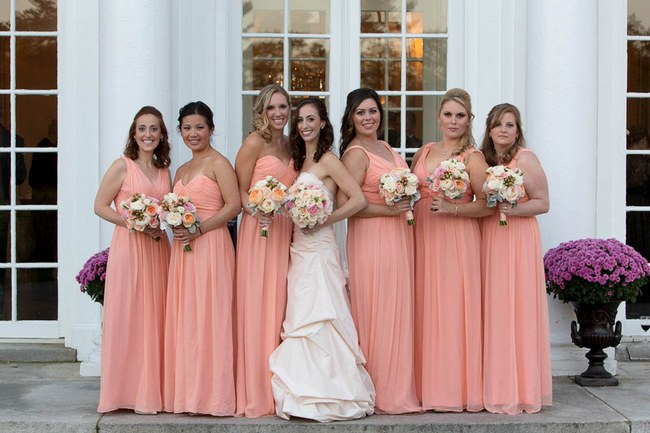 Flower filled peach blush fall wedding at tupper manor peach and blush bridesmaids autumn wedding at the tupper manor by kristen jane photography junglespirit Gallery