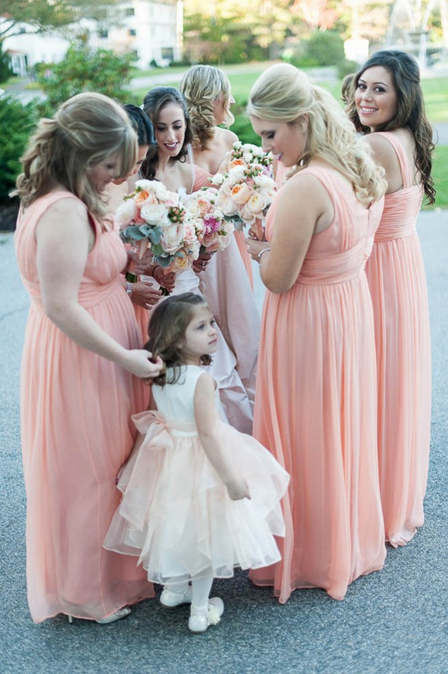 Peach and Blush Bridesmaids | Autumn Wedding at the Tupper Manor by Kristen Jane Photography | Seen first on ConfettiDaydreams.com