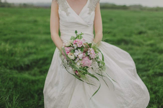 Cascade Bouquet Blush and Sparkle Fifties Inspired Countryside Wedding in the Countryside // Kirsty-Lyn Jameson Photography  // Gibson Bespoke // ConfettiDaydreams.com Wedding Blog