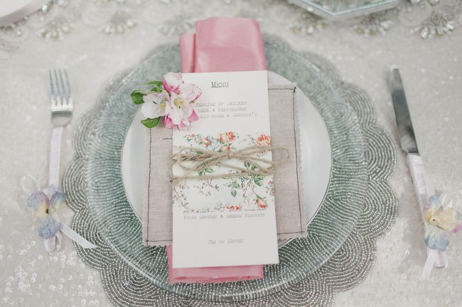 Place Setting Outdoor Tablescape // Blush and Sparkle Fifties Inspired Countryside Wedding in the Countryside // Kirsty-Lyn Jameson Photography  // Gibson Bespoke // ConfettiDaydreams.com Wedding Blog