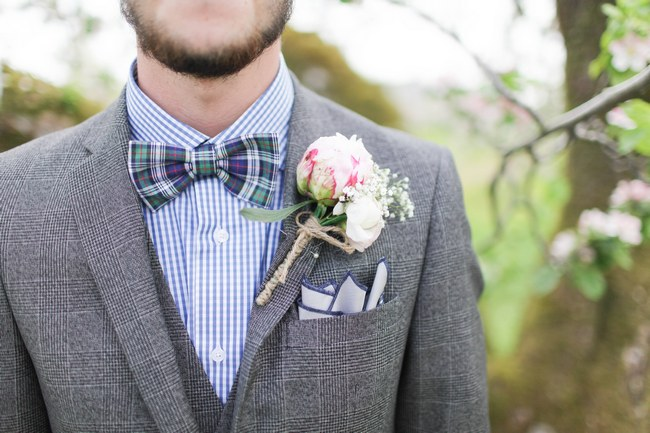 Boutonniere // Blush and Sparkle Fifties Inspired Countryside Wedding in the Countryside // Kirsty-Lyn Jameson Photography  // Gibson Bespoke // ConfettiDaydreams.com Wedding Blog