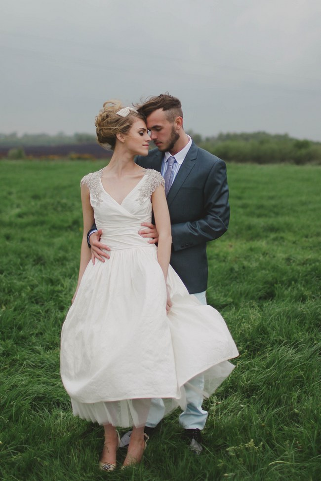 Short Wedding Dress  // Blush and Sparkle Fifties Inspired Countryside Wedding in the Countryside // Kirsty-Lyn Jameson Photography  // Gibson Bespoke // ConfettiDaydreams.com Wedding Blog