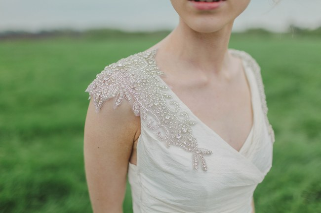 Amazing beaded shoulder detail // Blush and Sparkle Fifties Inspired Countryside Wedding in the Countryside // Kirsty-Lyn Jameson Photography  // Gibson Bespoke // ConfettiDaydreams.com Wedding Blog
