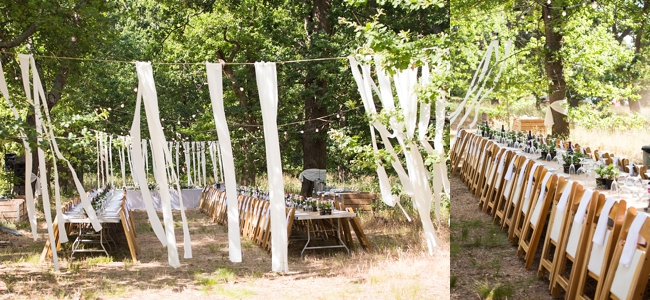 Streamers :: Eco Friendly Wedding Decor:: Outdoor Forest Wedding :: Ruby Jean Photography :: See more on Confetti Daydreams Wedding Blog
