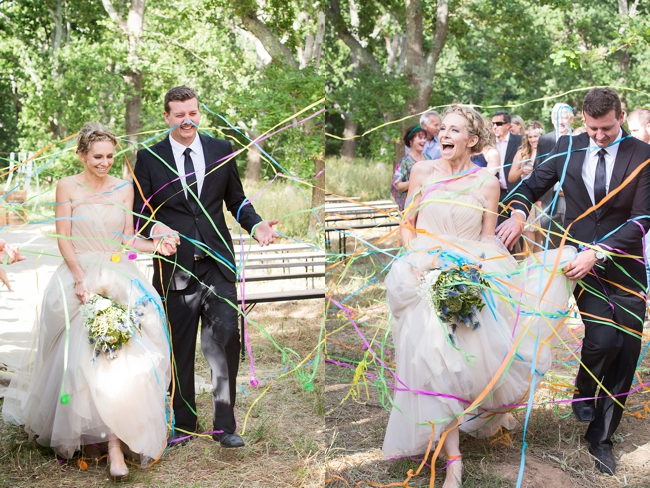 Streamers! Gorgeous Eco Friendly Outdoor Forest Wedding ceremony :: Ruby Jean Photography :: See more on Confetti Daydreams Wedding Blog