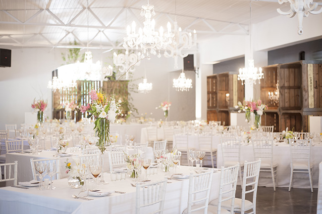 Wedding Reception Decor Ideas :: Molenvliet :: Pale Yellow, White & Coral Winelands Destination Wedding (South Africa) :: Joanne Markland Photography :: ConfettiDaydreams.com Wedding Blog